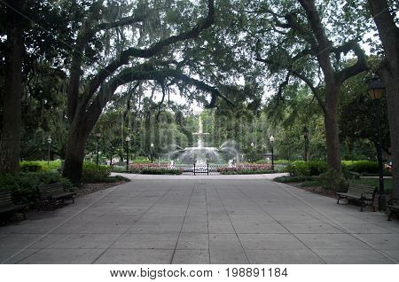 Forsyth Park Fountian Along Pathway in Savannah Georgia