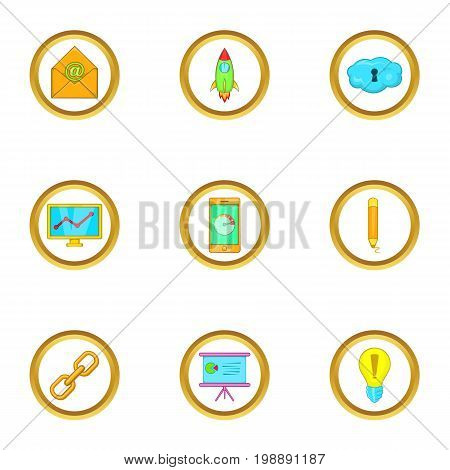 Business project icons set. Cartoon set of 9 business project vector icons for web isolated on white background