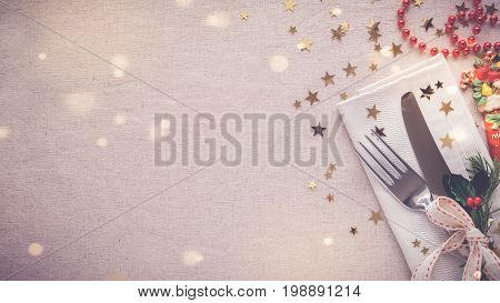 Christmas Food Dinner Table Place Setting, Holidays Copy Space Panoramic Background
