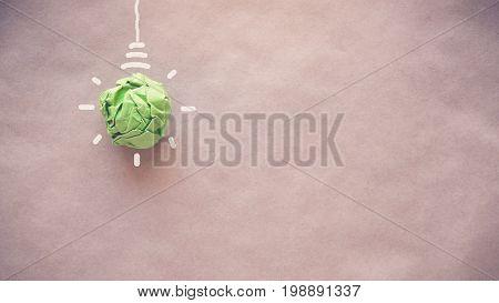 Green paper light bulb eco energy saving concept