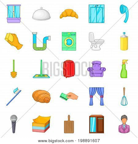 Hotel service icons set. Cartoon set of 25 hotel service vector icons for web isolated on white background