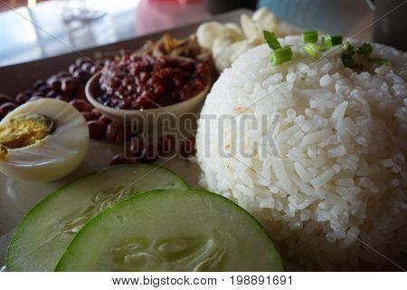 Nasi Lemak, A Traditional Malay Curry Paste Rice Dish