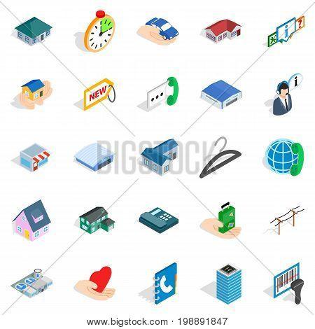 Homelike icons set. Isometric set of 25 homelike vector icons for web isolated on white background