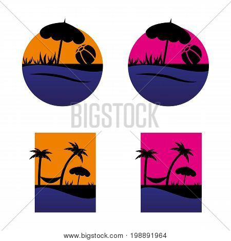 A set of beach icons in different colors