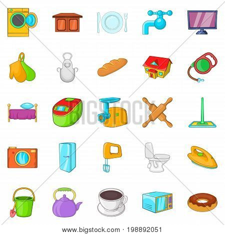 Housecraft icons set. Cartoon set of 25 housecraft vector icons for web isolated on white background