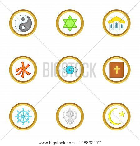 Different religion icons set. Cartoon set of 9 different religion vector icons for web isolated on white background