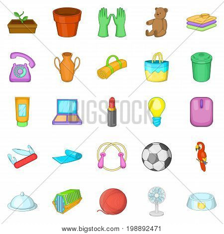 House things icons set. Cartoon set of 25 house things vector icons for web isolated on white background
