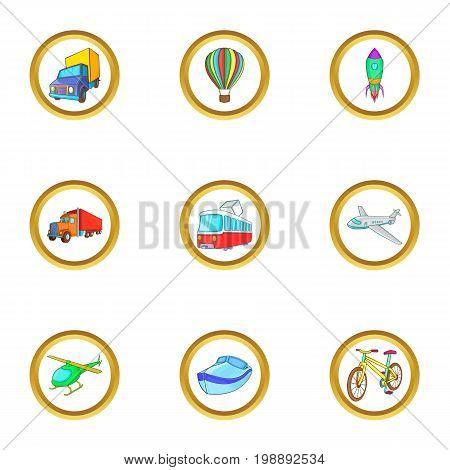 Types of vehicle icons set. Cartoon set of 9 types of vehicle vector icons for web isolated on white background