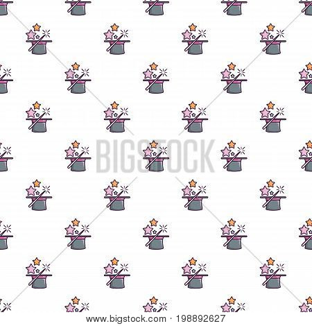Magic hat with magic wand pattern in cartoon style. Seamless pattern vector illustration