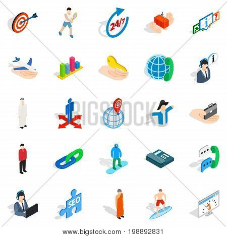 Human occupation icons set. Isometric set of 25 human occupation vector icons for web isolated on white background