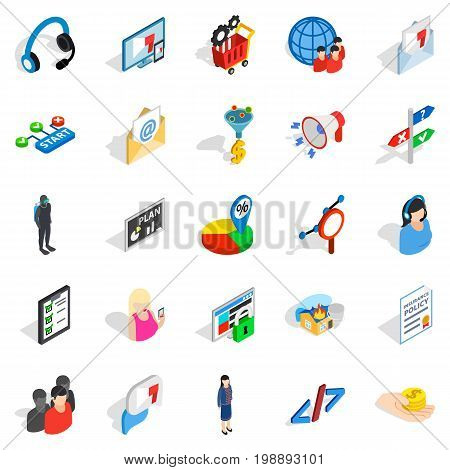 Human being icons set. Isometric set of 25 human being vector icons for web isolated on white background