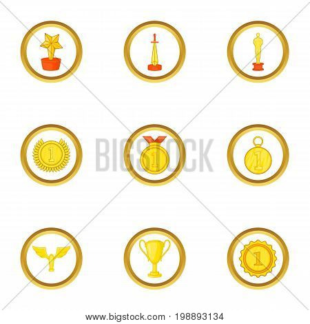 Trophy icons set. Cartoon set of 9 trophy vector icons for web isolated on white background