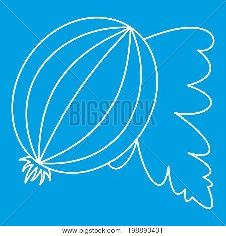 Gooseberry fruit icon blue outline style isolated vector illustration. Thin line sign