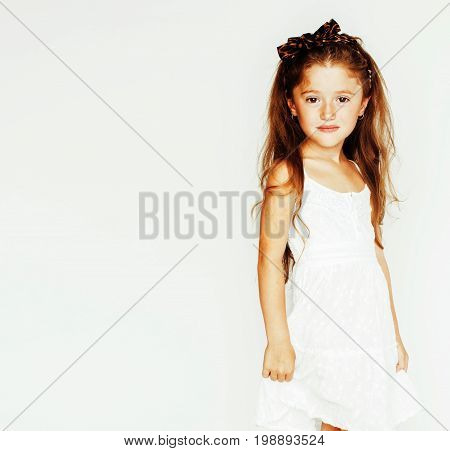 little cute spring girl with lily flower in fancy dress isolated on white background jumping flying, lifestyle people concept close up