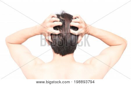 Closeup man hand itchy scalp Hair care concept