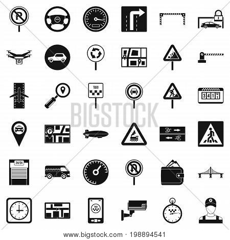 City traffic icons set. Simple style of 36 city traffic vector icons for web isolated on white background