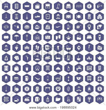 100 inn icons set in purple hexagon isolated vector illustration