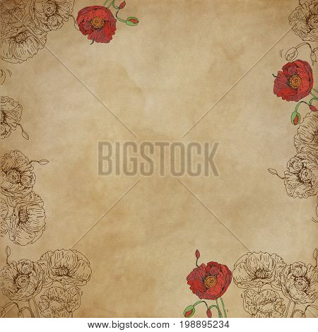Neutral base effect canvas for artistic bases with musical notes with flowers