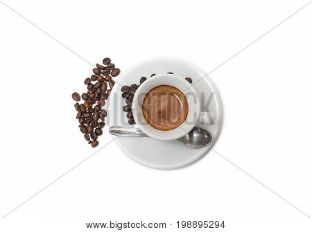 Coffee With Beans. Isolated On White Background