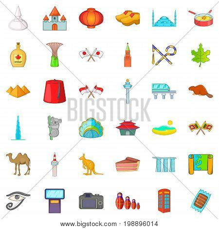 Country landmark icons set. Cartoon style of 36 country landmark vector icons for web isolated on white background
