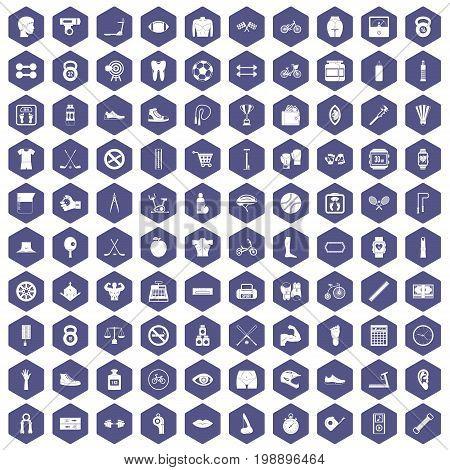 100 kettlebell icons set in purple hexagon isolated vector illustration