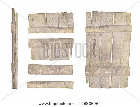 Old Wooden Door Isolated On White