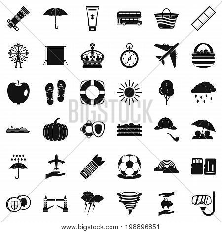 Bad weather icons set. Simple style of 36 bad weather vector icons for web isolated on white background