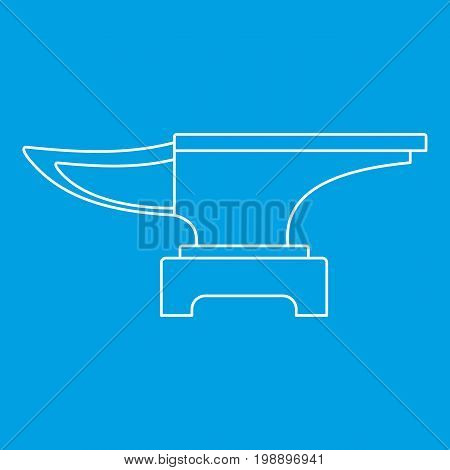 Heavy black metal anvil icon blue outline style isolated vector illustration. Thin line sign