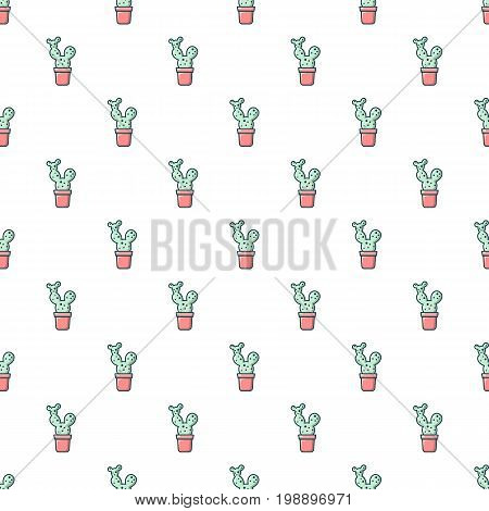 Opuntia cactus pattern in cartoon style. Seamless pattern vector illustration