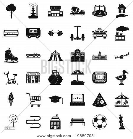 Urban thing icons set. Simple style of 36 urban thing vector icons for web isolated on white background