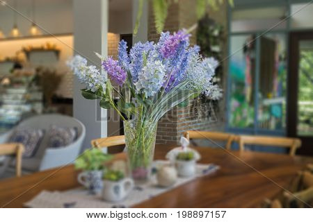 Vintage wooden house table decoration stock photo