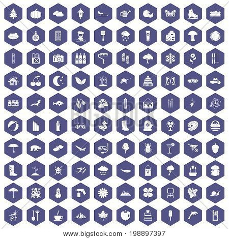 100 landscape icons set in purple hexagon isolated vector illustration