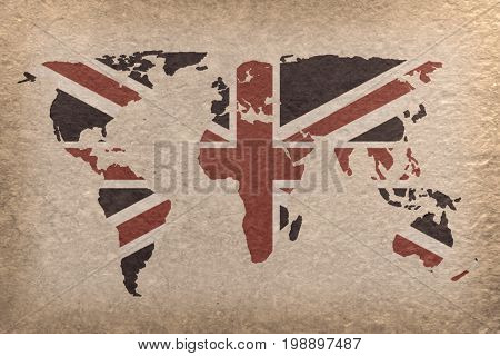 vintage world map with UK flag on paper craft (map from NASA) poster
