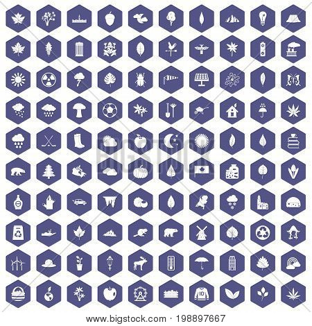 100 leaf icons set in purple hexagon isolated vector illustration
