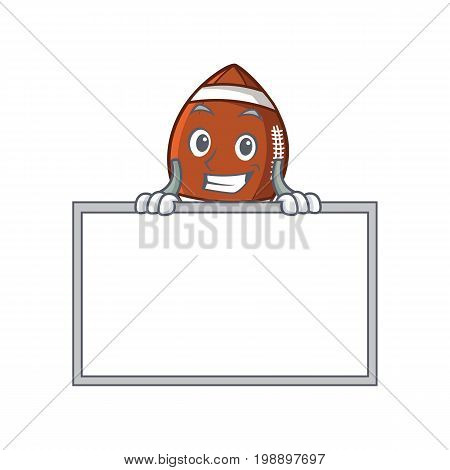 Grinning with board American football character cartoon vector art