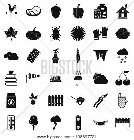 Spring vegetable icons set. Simple style of 36 spring vegetable vector icons for web isolated on white background