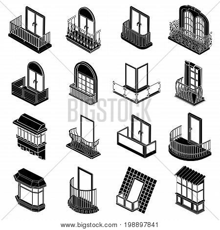Balcony window forms icons set. Simple illustration of 16 balcony window forms icons set vector icons for web