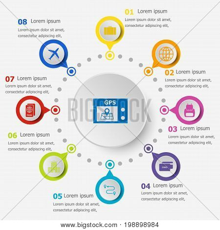 Infographic template with trip icons, stock vector