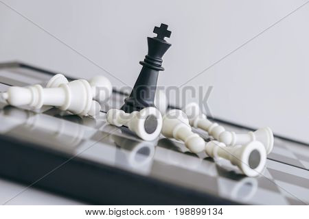 Chess leadership and success concept chess save the strategy and king on chess board.