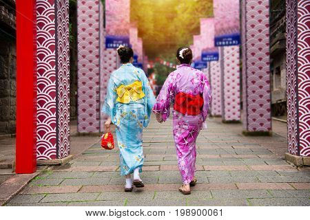 Kimono Girls Join Japanese Local Festival Together