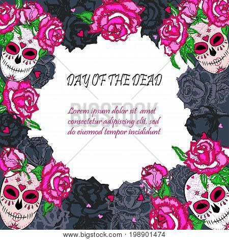 Sugar skull with pink roses template. Text copy frame template. Day of the dead (Dia de los muertos). Happy Halloween. Vector illustration.