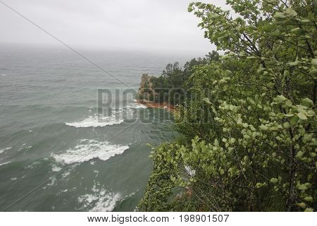 Gale force winds at Miners Castle.   Pictured Rocks National Lakeshore, Upper Peninsula of Michigan