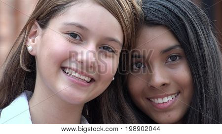 Pretty Female Teens Smiling Close Up of Face