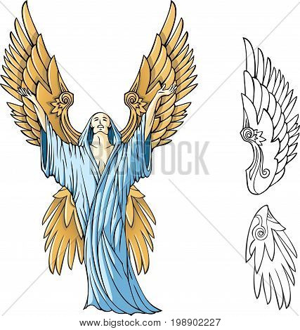 Angel appealing to the heaven, vector illustration