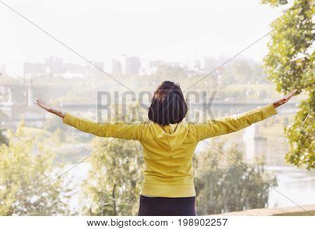 Joyful Woman Breathing Fresh Air Outdoors