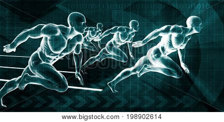 Successful Business Concept with Businessmen Running in Competition 3D Illustration Render