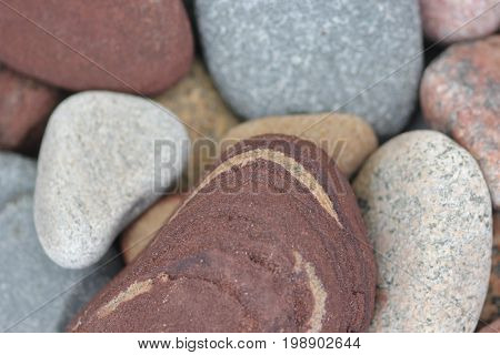Rocks and stones on a beach of Lake Superior.  Pictured Rocks National Lakeshore, Upper Peninsula of Michigan