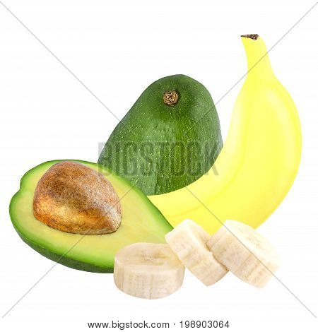 Isolated fruits. Banana and avocado isolated on white background ias package design element.