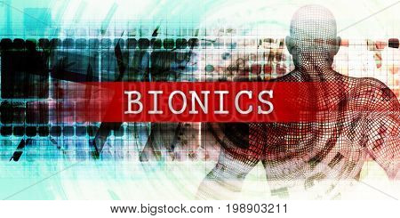 Bionics Sector with Industrial Tech Concept Art 3D Illustration Render poster