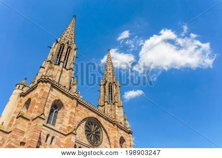 Church of St. Peter and St. Paul in the center of Obernai Bas-Rhin Alsace France